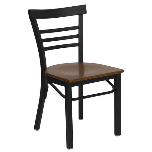 Our HERCULES Series Black Three-Slat Ladder Back Metal Restaurant Chair - Cherry Wood Seat is on sale now.