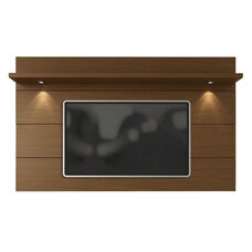 Cabrini 2.2 Front Panel TV Mount with Overhead LED Lights and Shelf - Nut Brown