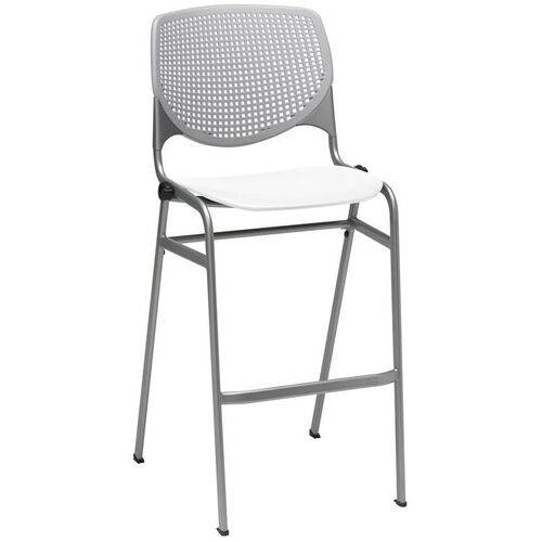 Our 2300 KOOL Series Stacking Poly Armless Barstool with Light Grey Perforated Back and White Seat is on sale now.