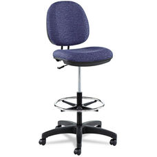 Alera® Interval Series Swivel Task Stool - Tone-On-Tone Fabric - Marine Blue