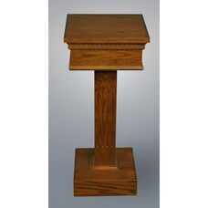 Stained Red Oak Flower Stand with Square Fluted Column