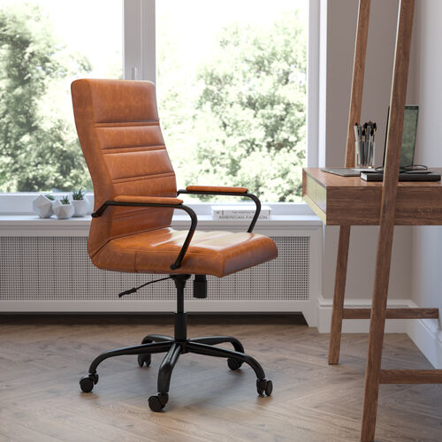 High Back Brown LeatherSoft Executive Swivel Office Chair with Black Frame and Arms