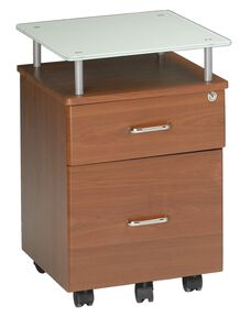 Vision Box and File Drawer Pedestal with Raised White Glass Top - Medium Cherry