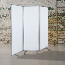"Mobile Magnetic Whiteboard Partition with Lockable Casters, 72""H x 24""W (3 sections included)"