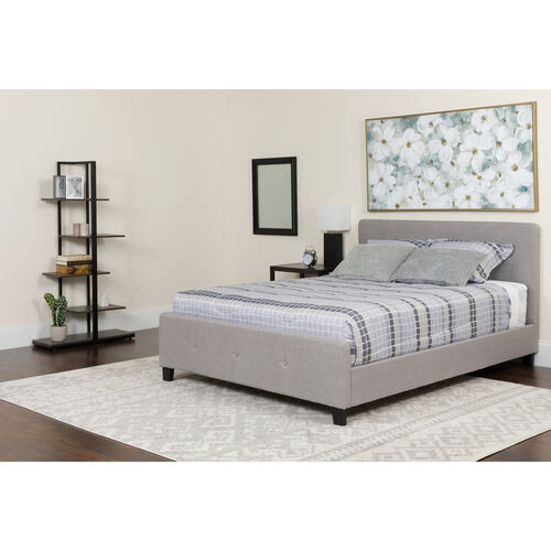 Tribeca Twin Size Tufted Upholstered Platform Bed in Light Gray Fabric with Pocket Spring Mattress