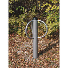 Chrome Finished Galvanized Steel Pipe Constructed Circular Loop Triple Bike Rack - 30