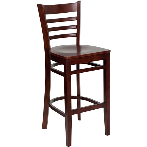 Our Mahogany Finished Ladder Back Wooden Restaurant Barstool is on sale now.