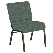 Embroidered 21''W Church Chair in Martini Smokey Fabric - Gold Vein Frame