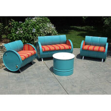 Santa Fe Steel Drum 4 Piece Conversation Set with Black Accents