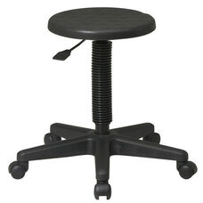Work Smart Self-Skinned Urethane Seat Intermediate Stool with Adjustable Seat Height - Black
