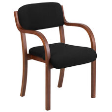 Contemporary Walnut Wood Side Reception Chair with Arms and Black Fabric Seat