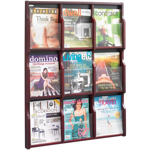 Expose™ Nine Magazine Eighteen Pamphlet Display with Plastic Front Panel - Mahogany