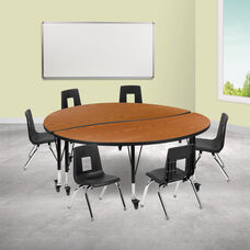"""Mobile 60"""" Circle Wave Collaborative Laminate Activity Table Set with 14"""" Student Stack Chairs, Oak/Black"""