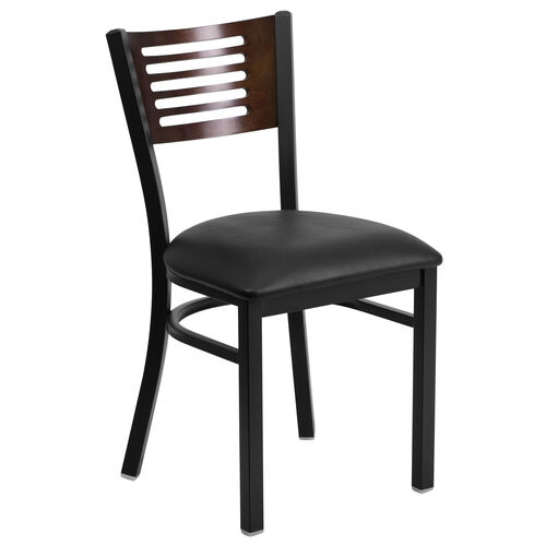 Our Black Decorative Slat Back Metal Restaurant Chair with Walnut Wood Back & Black Vinyl Seat is on sale now.