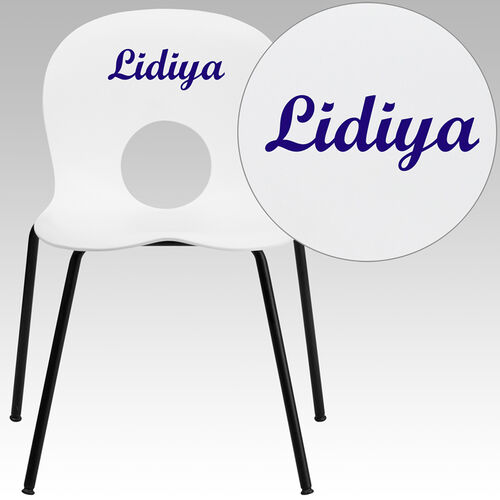 Our Personalized HERCULES Series 770 lb. Capacity Designer White Plastic Stack Chair with Black Frame is on sale now.