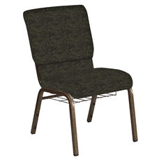 Embroidered 18.5''W Church Chair in Perplex Mint Chocolate Fabric with Book Rack - Gold Vein Frame