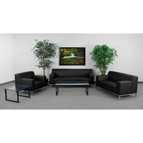 "Our HERCULES Definity Series Living Room Set in Black LeatherSoft with <span style=""color:#0000CD;"">Free </span> Glass Coffee and End Table is on sale now."