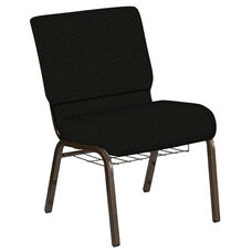Embroidered 21''W Church Chair in Mirage Pewter Fabric with Book Rack - Gold Vein Frame
