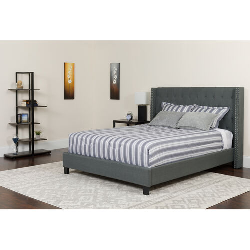 Our Riverdale Full Size Tufted Upholstered Platform Bed in Dark Gray Fabric with Pocket Spring Mattress is on sale now.