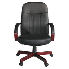 High Back LeatherPLUS Executive Chair with Padded Arms - Mahogany