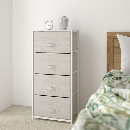 4 Drawer Tall Vertical Storage Unit Dresser, Organizer with steel frame, wood top and easy to pull fabric drawers - White/Gray