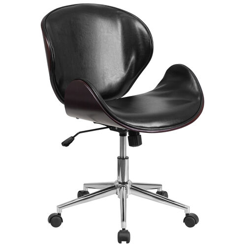 Our Mid-Back Mahogany Wood Conference Office Chair in Black Leather is on sale now.