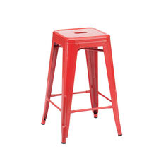 Dreux Glossy Red Steel Stackable Counter Stool - Set of 4