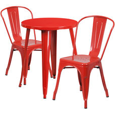 "Commercial Grade 24"" Round Red Metal Indoor-Outdoor Table Set with 2 Cafe Chairs"