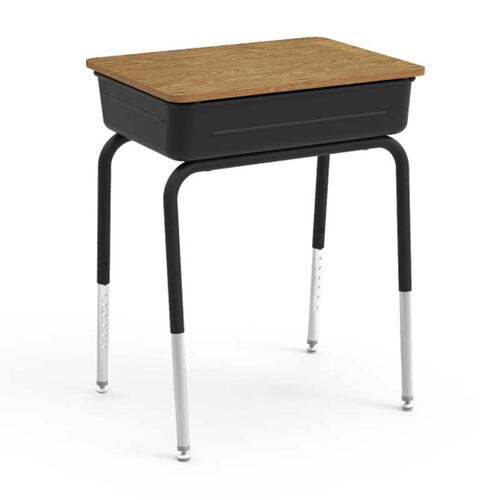 Our Quick Ship 751 Series Student Desk with Medium Oak Laminate Lift Lid Top and Black Metal Book Box and Frame - 18