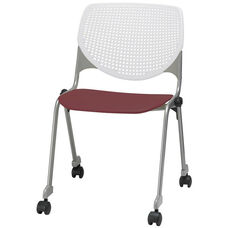 2300 KOOL Series Stacking Poly Silver Steel Frame Armless Chair with White Perforated Back and Casters - Burgundy Seat