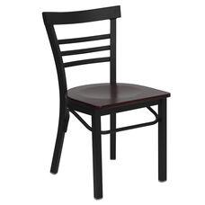 HERCULES Series Black Three-Slat Ladder Back Metal Restaurant Chair - Mahogany Wood Seat