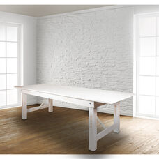 "9' x 40"" Rectangular Antique Rustic White Solid Pine Folding Farm Table"