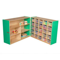 Half & Half Green Storage Shelf Unit with Rolling Casters and Twenty Five Clear Cubby Trays - 96