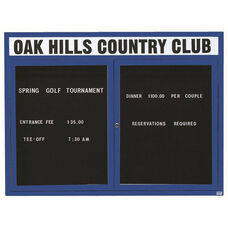 2 Door Indoor Illuminated Enclosed Directory Board with Header and Blue Anodized Aluminum Frame - 48