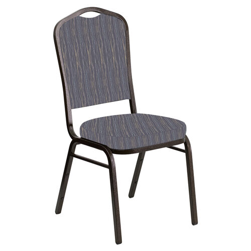 Embroidered Crown Back Banquet Chair in Mystery Hazelwood Fabric - Gold Vein Frame