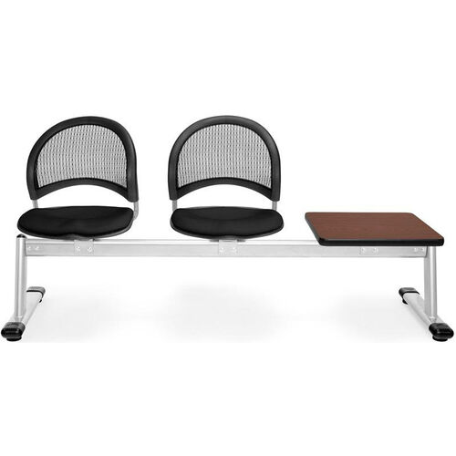 Our Moon 3-Beam Seating with 2 Black Fabric Seats and 1 Table - Mahogany Finish is on sale now.