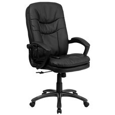 High Back Ergonomic Massaging Black LeatherSoft Executive Swivel Office Chair with Remote Pocket and Arms