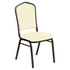 Embroidered Crown Back Banquet Chair in E-Z Sierra Off White Vinyl - Gold Vein Frame