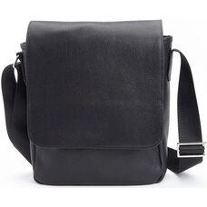Luxury iPad Messenger Bag - Soft Pebbled Genuine Leather - Black