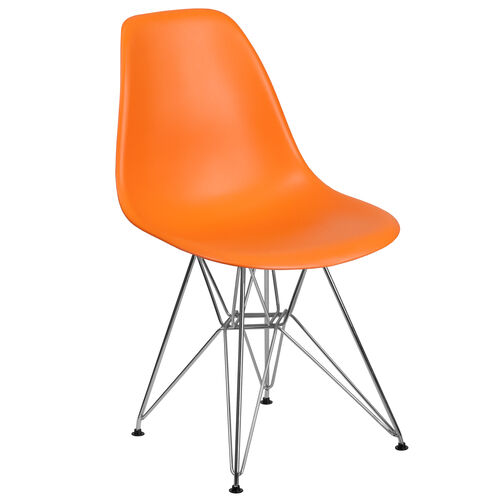 Our Elon Series Orange Plastic Chair with Chrome Base is on sale now.