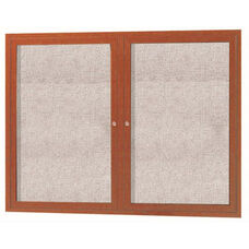 2 Door Outdoor Enclosed Bulletin Board with Aluminum Wood-Look Oak Finish - 36''H x 48''W