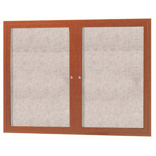 2 Door Outdoor Enclosed Bulletin Board with Aluminum Wood-Look Oak Finish - 36