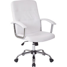 Ave Six Malta Faux Leather Office Chair with Padded Chrome Armrests - White