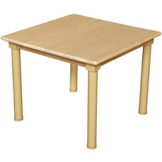 Solid Birch Hardwood Square Table with Heavy Duty Adjustable Legs - 36