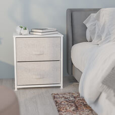 2 Drawer Nightstand / End Table Storage Unit, Organizer with steel frame, wood top and easy to pull fabric drawers - White/Gray