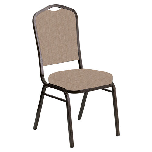 Our Embroidered Crown Back Banquet Chair in Sammie Joe Taupe Fabric - Gold Vein Frame is on sale now.