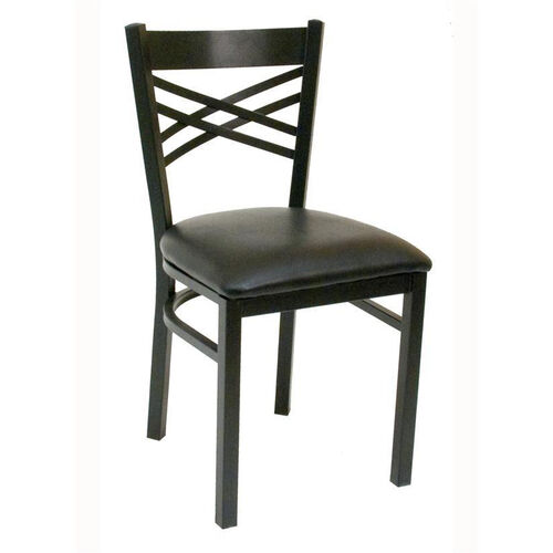 Quick Ship Lattice Back Metal Dining Chair - Black Vinyl Seat