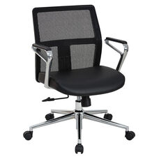 OSP Furniture Mid Mesh Back and Bonded Leather Seat Managers Office Chair with Padded Polished Aluminum Arms and Chrome Base - Black