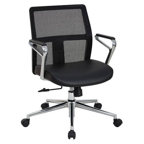 Our OSP Furniture Mid Mesh Back and Bonded Leather Seat Managers Office Chair with Padded Polished Aluminum Arms and Chrome Base - Black is on sale now.