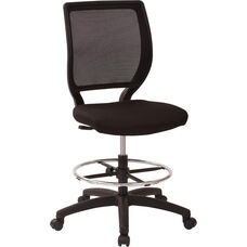 Work Smart Deluxe Woven Mesh Back Armless Drafting Chair with Icon Black Fabric Seat and Adjustable Footring